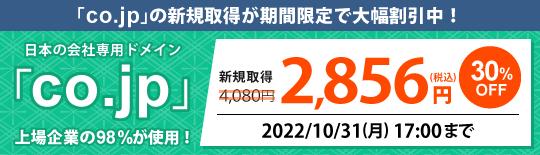 「co.jp」ドメイン激安キャンペーン中